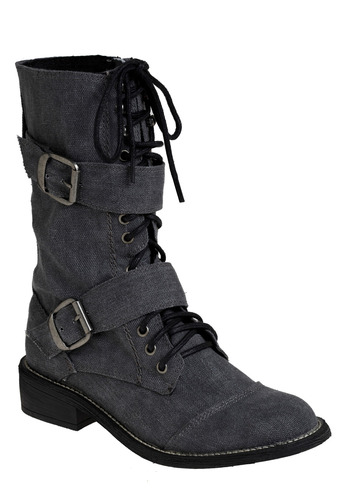 Full Mettle Boot - Grey, Black, Solid, Buckles, Eyelet, Casual, Military, Fall, Winter