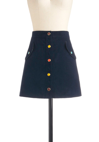 Sweetness and Delight Skirt | Mod Retro Vintage Skirts | ModCloth.com :  button front cheery navy corduroy