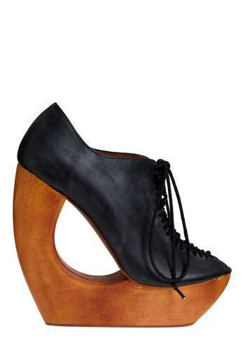 Sonic Boomerang Wedge by Jeffrey Campbell - Brown, Black, Solid, Cutout, Party, Casual, Statement, Wedge