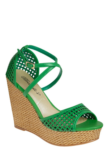 Keen on Kelly Wedge - Green, Cutout, Casual, Spring, Summer, Solid, Urban, Wedge