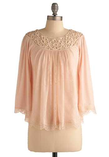 Chosen with Care Top - Pink, Tan / Cream, Embroidery, Lace, Casual, Boho, 3/4 Sleeve, Spring, Summer, Mid-length, Vintage Inspired, 70s