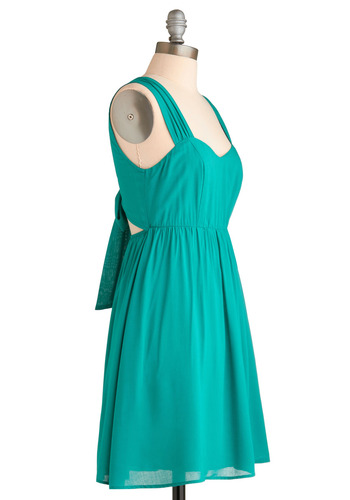 Teal It to My Heart Dress - Green, Solid, Bows, Cutout, Party, Casual, A-line, Sleeveless, Tank top (2 thick straps), Spring, Summer, Mid-length