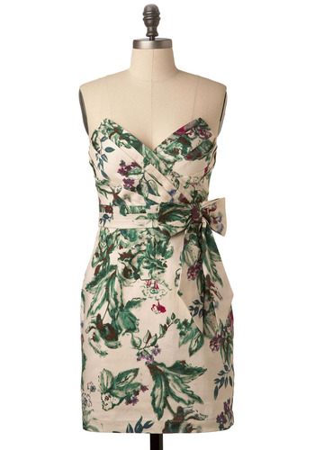 Two Tickets to Paradise Dress - Cream, Multi, Green, Blue, Purple, Pink, Brown, Floral, Bows, Party, Casual, A-line, Mini, Strapless, Spring, Summer, Mid-length