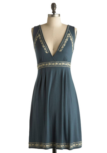 Edelweiss Dress - Blue, Tan / Cream, Solid, Embroidery, Trim, Casual, A-line, Empire, Sleeveless, Spring, Summer, Fall, Mid-length