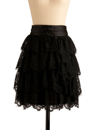 Stylish Selection Skirt - Black, Solid, Floral, Lace, Scallops, Tiered, Special Occasion, Wedding, Party, Luxe, Mid-length