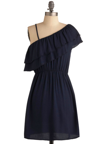 Blue Sleek Dress - Blue, Ruffles, Party, Casual, A-line, Spaghetti Straps, One Shoulder, Mid-length