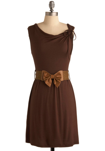 Sentimental Journey Dress - Brown, Solid, Bows, Casual, Sheath / Shift, Sleeveless, Spring, Summer, Fall, Short