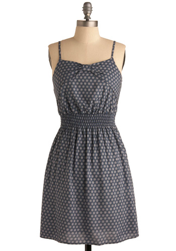 Star Sapphire Dress - Blue, Black, Grey, Polka Dots, Casual, Spaghetti Straps, Spring, Summer, Fall, Short