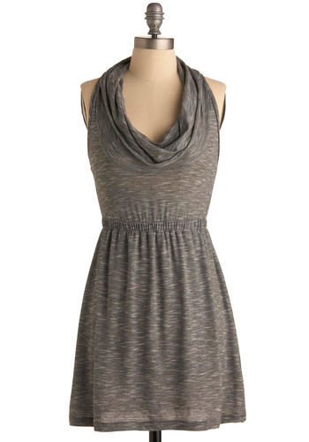 Jazz Ensemble Dress - Grey, Solid, Casual, A-line, Racerback, Spring, Summer, Short