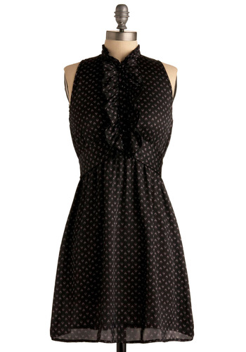 Singing Telegram Dress - Black, Pink, Floral, Buttons, Ruffles, Work, Casual, A-line, Empire, Sleeveless, Mid-length, Press Placement