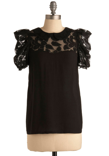 Instigating Adventure Top - Black, Solid, Floral, Exposed zipper, Lace, Formal, Urban, Cap Sleeves, Mid-length