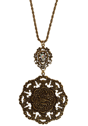 In Like a Medallion Necklace - Gold, Rhinestones, Casual, Boho, Statement