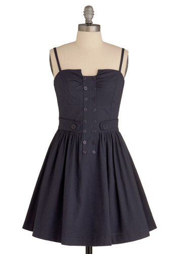 Happy Travels Dress - Blue, Solid, Buttons, Pleats, Casual, Urban, A-line, Spaghetti Straps, Mid-length