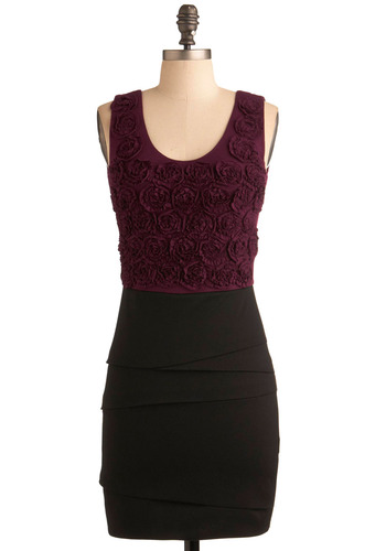 Maroon in Bloom Dress - Red, Black, Purple, Solid, Exposed zipper, Flower, Tiered, Party, Sheath / Shift, Twofer, Tank top (2 thick straps), Short
