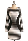 Stripe for the Picking Dress - Black, White, Stripes, Casual, Urban, Sheath / Shift, Long Sleeve, Short
