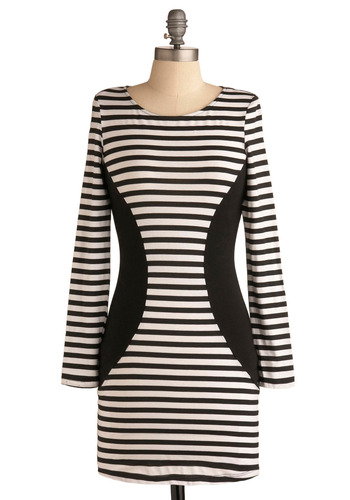Stripe for the Picking Dress - Black, White, Stripes, Casual, Urban, Shift, Long Sleeve, Short