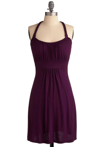 Richly Royal Dress - Purple, Solid, Braided, Casual, Halter, Summer, Mid-length, Variation