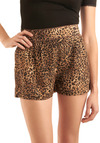 Cat-ch Me if You Can Shorts - Brown, Tan / Cream, Black, Animal Print, Pleats, Trim, Casual, Spring, Summer, Short