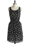 Wrap Mogul Dress - Black, White, Polka Dots, Bows, Casual, A-line, Sleeveless, Tank top (2 thick straps), Mid-length