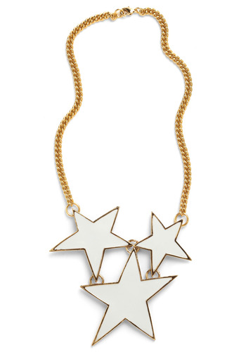 Third Wish Is the Charm Necklace - White, Gold, Chain, Statement, 80s