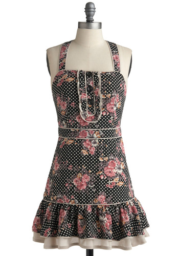 A Wink and a Flounce Dress | Mod Retro Vintage Printed Dresses | ModCloth.com :  fluttery breezy frilly black and white