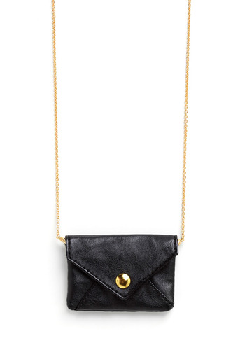 Special Delivery Necklace - Black, Gold, Solid, Chain, Casual, Statement