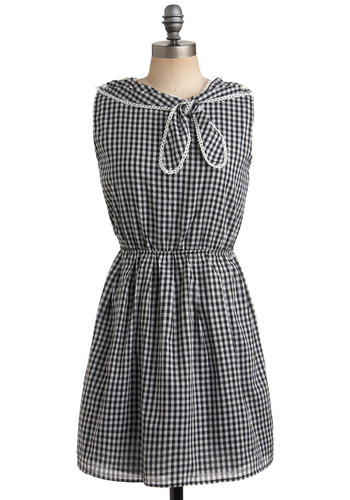 Gal in a Goodie Store Dress - Checkered / Gingham, Buttons, Casual, A-line, Sleeveless, Black, White, Nautical