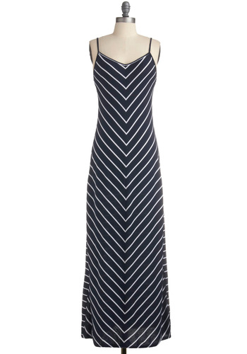 Victory at V Dress - Blue, White, Stripes, Casual, Nautical, Maxi, Spaghetti Straps, Spring, Summer, Long
