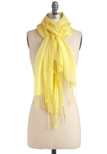 We're Butter Together Scarf | Mod Retro Vintage Scarves | ModCloth.com :  patterned sunny fringe scarf