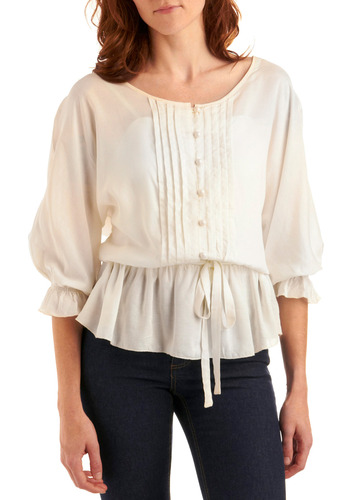 Poetic Prequel Top - Cream, Solid, Buttons, Pleats, Ruffles, Work, Casual, 3/4 Sleeve, Boho, Mid-length