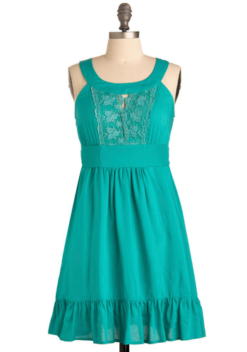 Artemis Dress - Blue, Solid, Bows, Cutout, Lace, Ruffles, Casual, A-line, Sleeveless, Tank top (2 thick straps), Spring, Summer, Mid-length