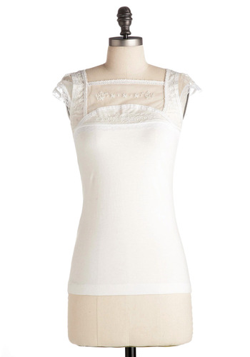 Never Forget a Lace Top - White, Solid, Lace, Casual, Cap Sleeves, Spring, Summer, Mid-length