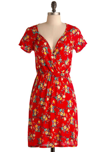 Flowers of Romance Dress - Red, Red, Yellow, Green, Blue, Brown, Floral, Casual, A-line, Short Sleeves, Spring, Summer, Short