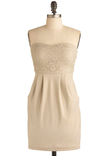 Closing Early Dress - Cream, Solid, Exposed zipper, Lace, Pleats, Pockets, Party, Casual, Empire, Shift, Strapless, Spring, Summer, Mid-length