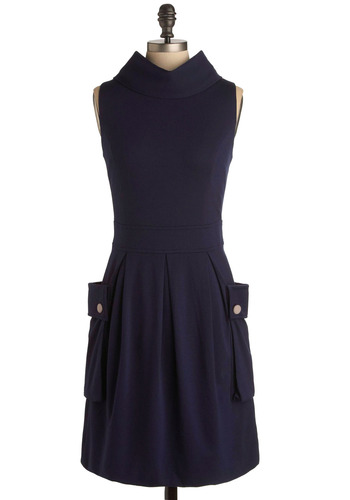 Frock Ballad Dress in Angie - Blue, Solid, Buttons, Pleats, Pockets, Work, Casual, A-line, Fall, Spring, Mid-length, Military
