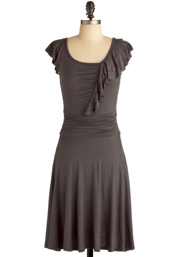 Never Running Slate Dress - Grey, Solid, Ruffles, Casual, A-line, Cap Sleeves, Mid-length