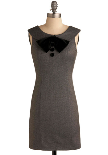 Ad Agency Dress - Grey, Black, Solid, Bows, Buttons, Formal, Party, Work, Casual, Vintage Inspired, Luxe, Sheath / Shift, Sleeveless, Tank top (2 thick straps), Short