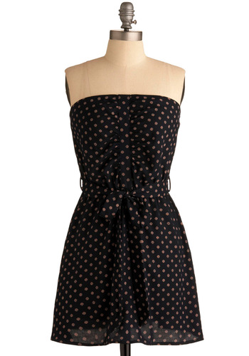 Simply Put Dress - Blue, Tan / Cream, Polka Dots, Bows, Buttons, Casual, A-line, Strapless, Spring, Summer, Mid-length