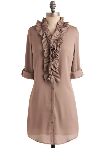 Frilled to Meet You Tunic - Brown, Solid, Ruffles, Casual, Urban, 3/4 Sleeve, Fall, Long