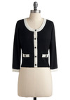 Continental Travel Cardigan - Black, White, Solid, Buttons, Pockets, Trim, Party, Work, Casual, Long Sleeve, Short