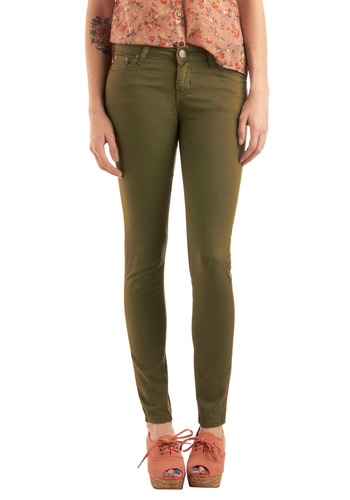 Live and Fern Jeans - Green, Solid, Urban, Long
