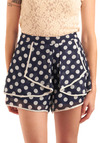 Pep in Your Step Shorts - Blue, Tan / Cream, Polka Dots, Ruffles, Trim, Casual, Spring, Summer, Nautical, Mid-length