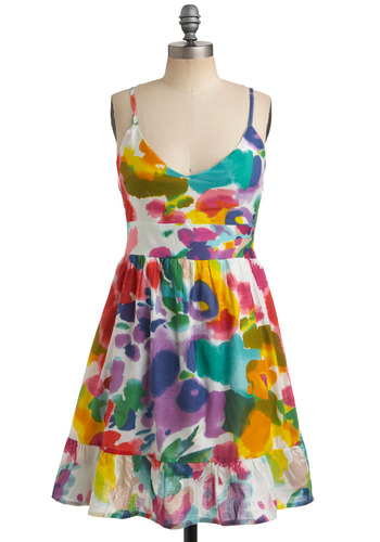Bloom Brightly Dress - Multi, Casual, A-line, Spaghetti Straps, Spring, Summer, Mid-length, Neon, Cotton, V Neck