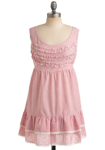 Peppermint Taffy Dress - Stripes, Crochet, Lace, Ruffles, Trim, Casual, Empire, Sleeveless, Tank top (2 thick straps), Spring, Summer, Pink, White, Short, Scoop