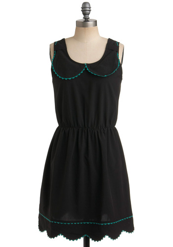 After-Dinner Compli-mints Dress by Kling - Black, Green, Scallops, Trim, Casual, A-line, Tank top (2 thick straps)
