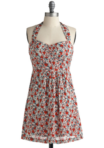Dreaming of Paia Dress - Floral, Casual, A-line, Halter, Spring, Summer, Multi, Red, Blue, White, Mid-length