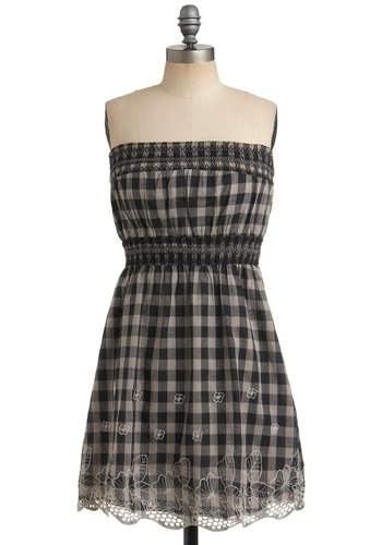 Keep in Checks Dress - Checkered / Gingham, Embroidery, Casual, A-line, Strapless, Spring, Summer, Black, Grey, Mid-length