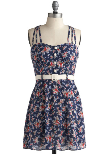 Takes the Crepe Dress - Blue, Multi, Red, Green, Pink, White, Floral, Buttons, Casual, A-line, Sleeveless, Spaghetti Straps, Racerback, Spring, Summer, Short