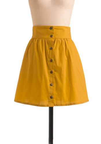 Craving Curry Skirt in Saffron - Yellow, Black, Solid, Buttons, Pockets, Casual, A-line, Spring, Summer, Short