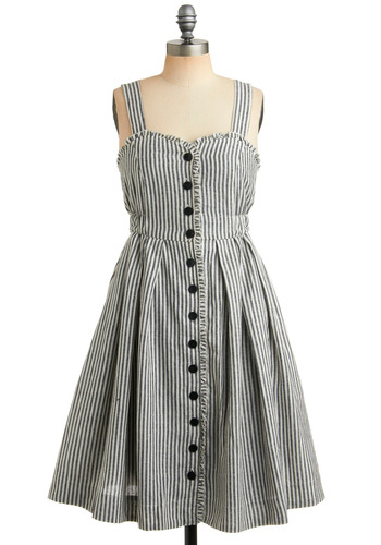 Ordinary Happy Moments Dress in Picnic | Mod Retro Vintage Printed Dresses | ModCloth.com :  linen blend cotton blend summer dress retro inspired